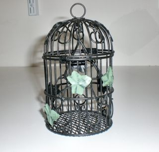 Small Black Metal Decorative Bird Cage w Green Leaves Home Yard Garden
