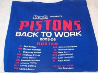 Detroit Pistons 2005 06 Team Roster T Shirt XL Nice