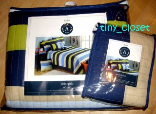 NEW AUTHENTIC KIDS Declan NAVY GREEN BLUE BEIGE Stripe Twin Quilt Sham