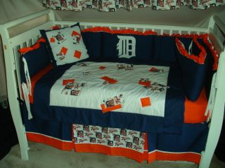 Baby Nursery Crib Bedding Set w Detroit Tigers Fabric