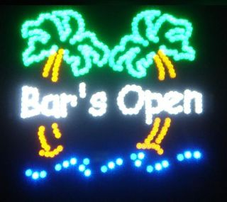 LED Bars Open Sign Animated with Palm Trees Baropenpalm