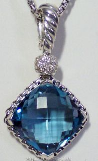 DAVID YURMAN 14MM BLUE TOPAZ DIAMOND CUSHION ON POINT ENHANCER