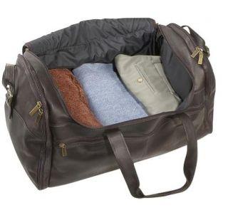 David King Deluxe Leather Duffel Gym Bag in Tan