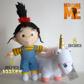 2PCS Despicable Me Character Plush Toys Unicorn & Girl Agnes Stuffed