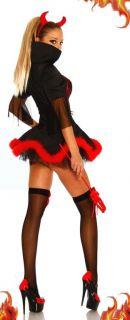 8296 Ladies Evil Devil Demon Fancy Dress Halloween Costume Horns Pitch