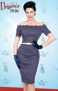 Pan Am Navy Blue Dots Elegance Bare Shoulder Fitted Dress XS 4X