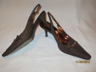 Etienne Aigner Brown Gold fabric size 10M heels womens shoes EUC