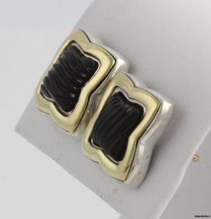 David Yurman Onyx Quatrefoil Stud Earrings   18k Yellow Gold Sterling