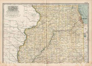 Northern Illinois Authentic Antique Map 12x16 Genuine 115 Years Old