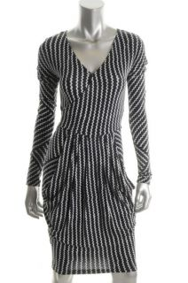 Rachel Roy New Black White Printed Faux Wrap Pleated Wear to Work