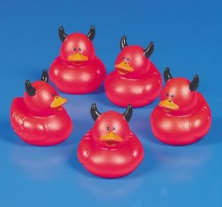Red Devil Rubber Ducks w Horns Duckies Party Favors Goth