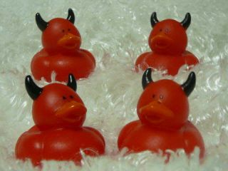 12 Hot Red Devil Ducks Dozen Ducky Party Favors Horns New