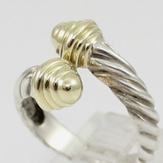 David Yurman Sterling Silver 14k Gold Dome Cable Bypass Ring Size 6