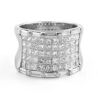 Baguette VS1 Diamond Anniversary Band Ring 14k White Gold SZ6
