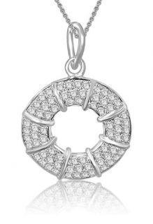 Circle Pendant Necklace 0 80ctw Natural Round Cut Diamond Jewelry 14k