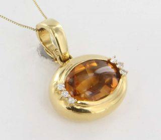 Gumps 18K Yellow Gold Diamond Citrine Pendant Fine Jewelry Used