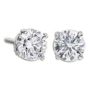 Round Cut Diamond Jewelry 14k Gold Solitaire Studs Earrings