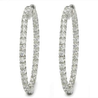 Ct F SI1 Round Brilliant Cut Diamond Hoop Earrings White Gold