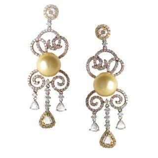 18K Multi Gold Diamond Pearl Chandelier Earrings