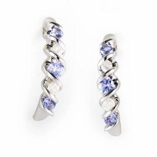 10K White Gold Tanzanite Diamond Earrings