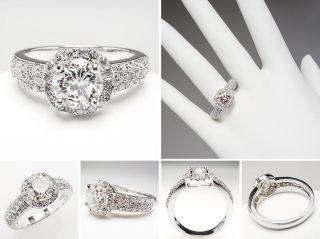 Carat Diamond Halo Engagement Ring 14K White Gold skudia990