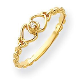 New 14k Gold or WG 0 01 Carat Diamond Heart Ring Available in Sizes 4