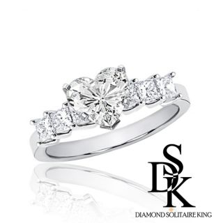 Diamond Engagement Bridal Ring 1 85 Carat Heart Cut 18K White Gold