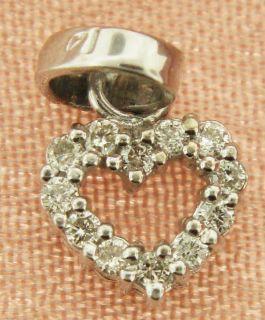14k White Gold Heart Diamond Pendant