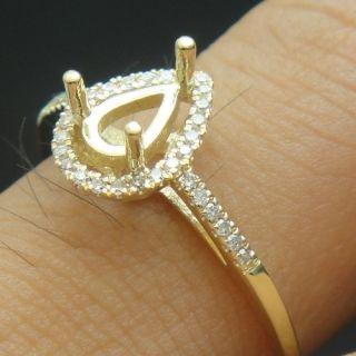 14K YELLOW GOLD DIAMOND SEMI MOUNT ENGAGEMENT RINGS 4X6mm PEAR CUT