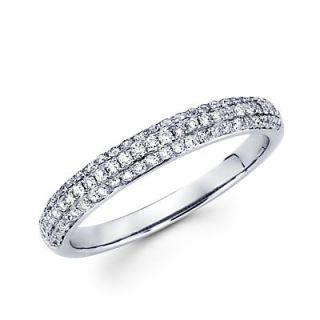 14k White Gold Round Diamond Pave Dome Ring Band 42 Ct