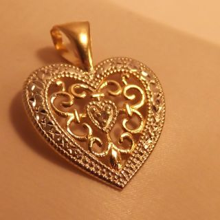 Gold Heart Pendant Diamond Cut Yellow White Gold Heart Diamond Pendant