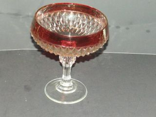 Vintage Indiana Glass Co Diamond Point Ruby Flash Band Goblet Chalice