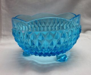 INDIANA DIAMOND POINT BLUE GLASS ROSE BOWL TRI FOOTED W SCALLOP EDGE