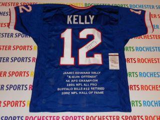 JIM KELLY autographed signed Buffalo Bills blue STAT Jersey JSA#