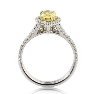 Intense Yellow Pear Shape Diamond Engagement Anniversary Ring