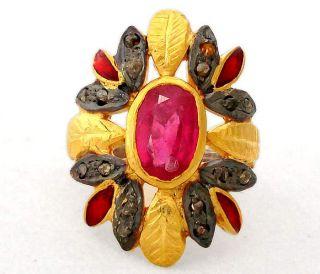 REAL PINK RUBY ENAMEL NATURAL DIAMOND GOLD 925 SILVER RING Sz 7 A1702