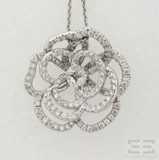 Designer 14k White Gold Diamond Flower Pendant Necklace