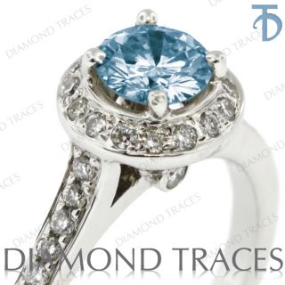 01ct Blue SI2 Round Genuine Diamond 14k Gold Classic Engagement Ring