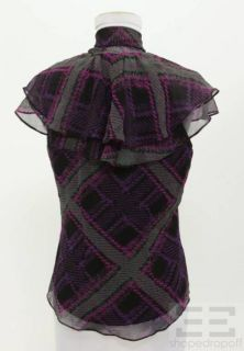 Diane Von Furstenberg Black Purple Fuchsia Green Silk Sleeveless Top