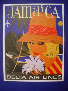 1960s Delta Air Lines Jamaica Flight Travel Poster