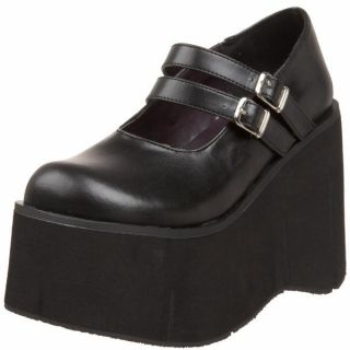 Demonia Black PU 4 5 Goth Double Strap Platform Mary Jane Kera 08 B