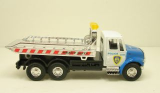 Flat Bed Rollback Police Tow Truck Diecast 5 5 Model Blue