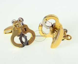 Deakin Francis 18K Yellow White Gold Handcuff Cufflinks