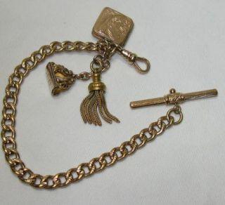 Antique Victorian Gold Fill Watch Chain Bracelet 3 Fobs Locket,Wax
