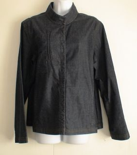 EILEEN FISHER Stretch Denim Jacket Sz XL Dark Wash Banded Collar