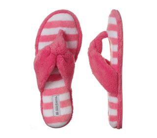 Dearfoams Striped Terry Pink And White Thong Slippers Size M 7 8
