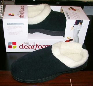 DEARFOAMS SIZE MEDIUM 9 10 MEN SUEDE FAUX FUR HOUSE SLIPPERS INDOOR