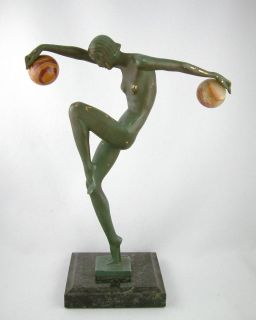 Deco Dancer to The Balls French Figural Bronze Signed Denis