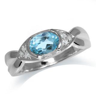 December Birthstone Blue White Topaz 925 Sterling Silver Classic Ring