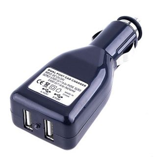 Dual Port USB 12V Car Charger Adapter for iPod  4